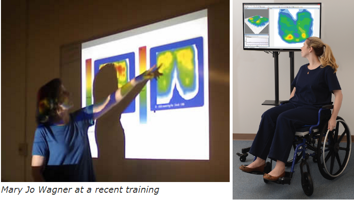 "Two pictures show a woman pointing to a pressure map on a screen and a woman in a wheelchair looking at a pressure map on a display. A caption beneath the pointing woman reads ""Mary Jo Wagner at a recent training."""